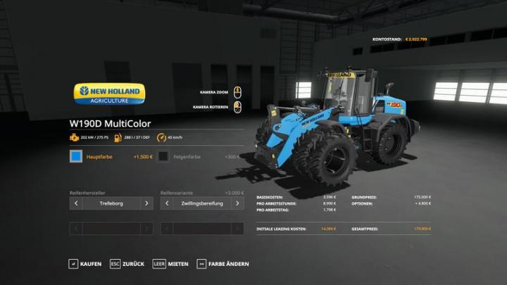FS19 - New Holland W190D Wheel Loader - Multicolor And More V1.0